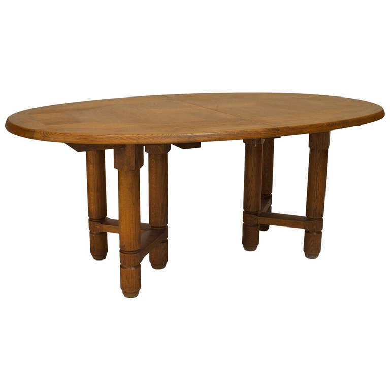 1950 S French Oak Oval Dining Table By Guillerme Et