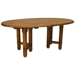 1950's French Oak Oval Dining Table by Guillerme et Chambron