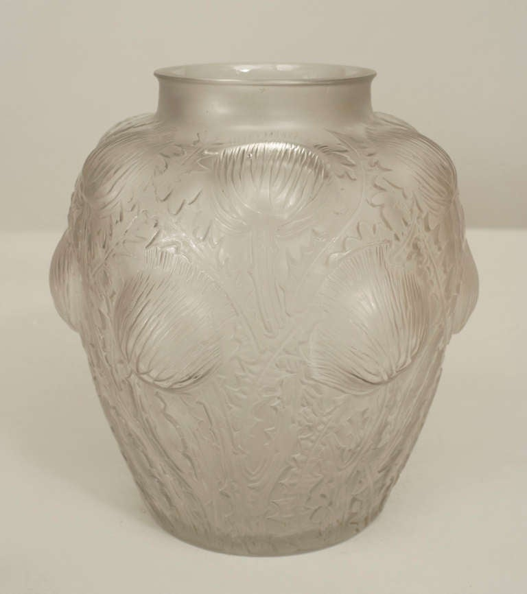 Pair of French Art Deco frosted glass