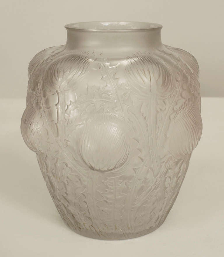 Pair of French Art Deco Frosted Glass Domremy Lalique Vases In Excellent Condition For Sale In New York, NY