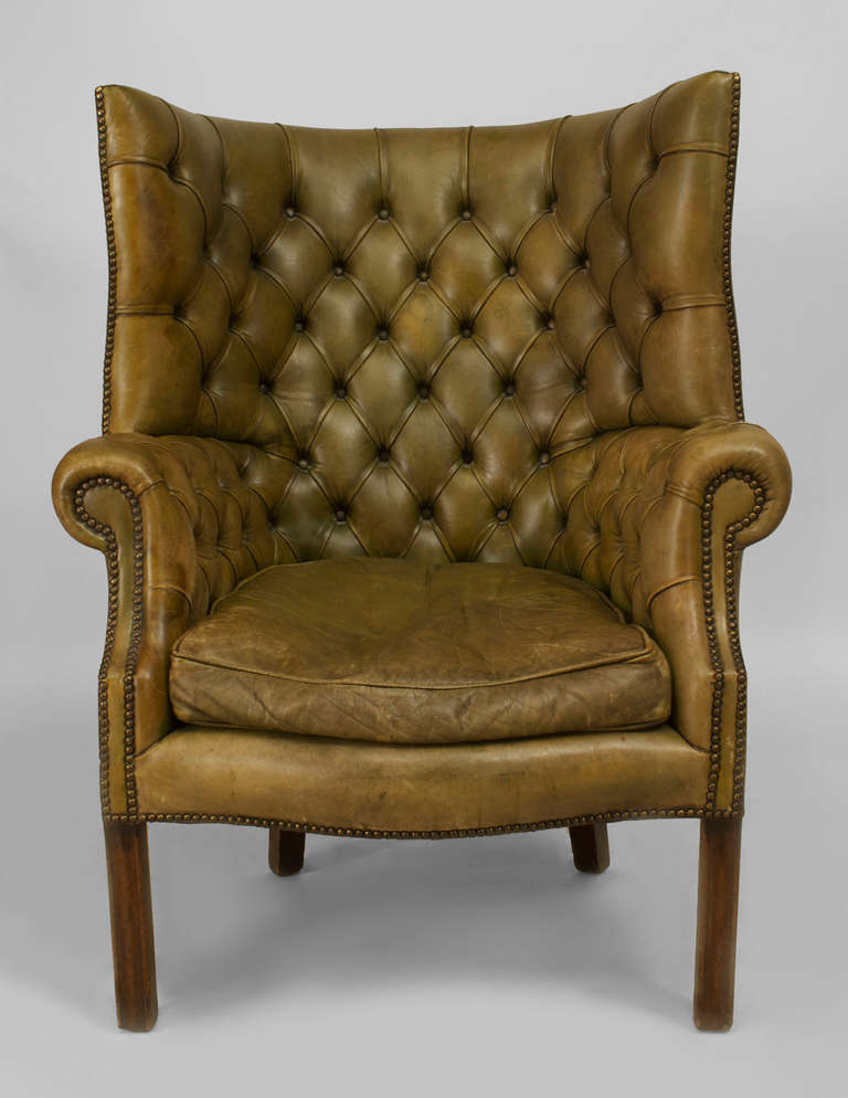 19th century georgian tufted green leather wing chair 3