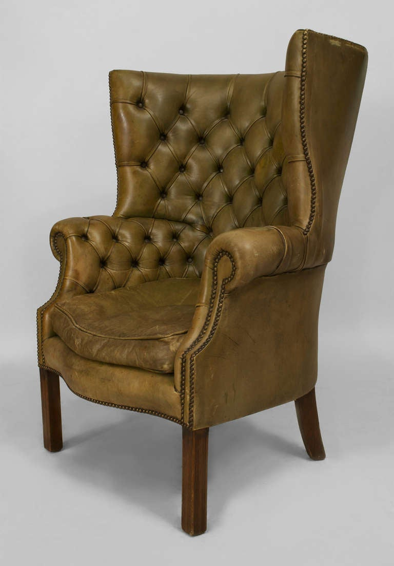 Leather Wingback Chair For Sale