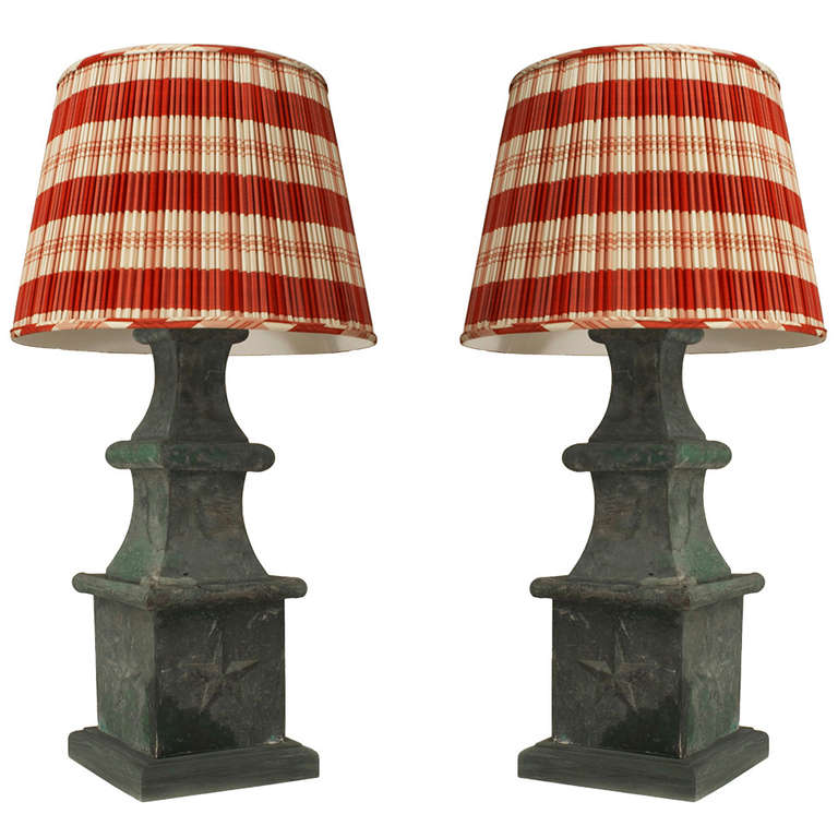 Pair of 19th c. American Green Tole Table Lamps
