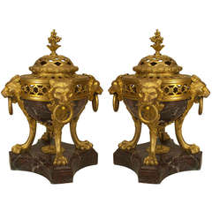 Pair of 19th Century French Bronze and Marble Compotes