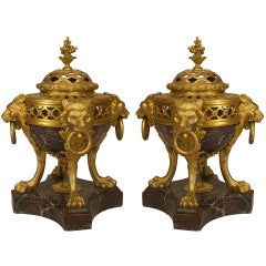 Pair of French Victorian Bronze and Marble Compotes