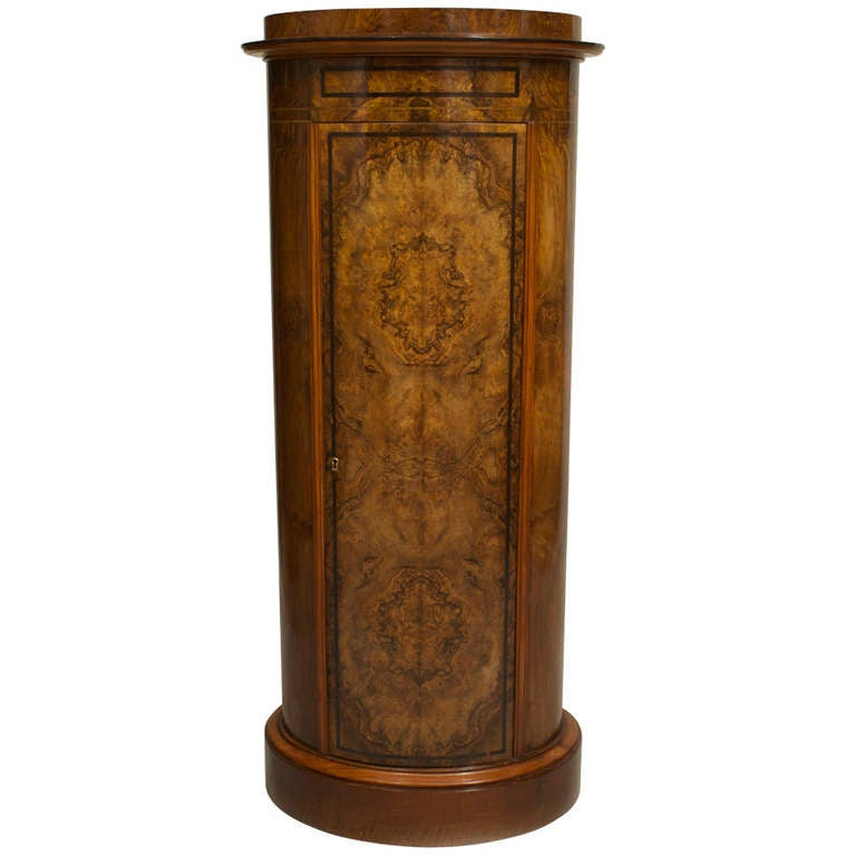 19th c. Biedermeier Burl Walnut Pedestal Cabinet For Sale