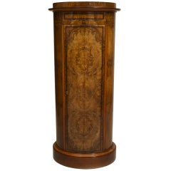 Biedermeier Burl Walnut Pedestal Cabinet