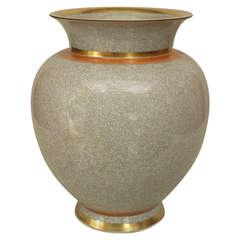 1950's Danish Crackled Grey Vase by Royal Copenhagen