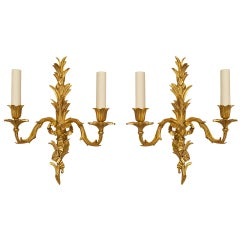 Pair of French Louis XV Style Gilt Bronze Sconces
