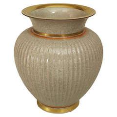 1950's Danish Fluted Crackled Grey Vase by Royal Copenhagen