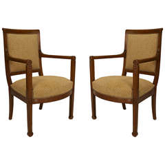 Pair of Early 19th Century Italian Fruitwood Armchairs