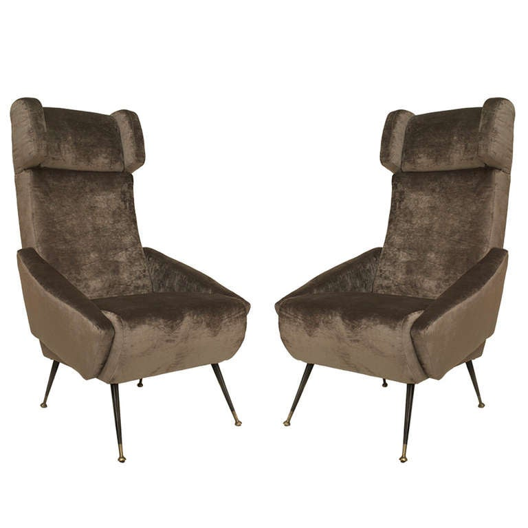 Pair of 1960's Italian Upholstered Wingback Chairs