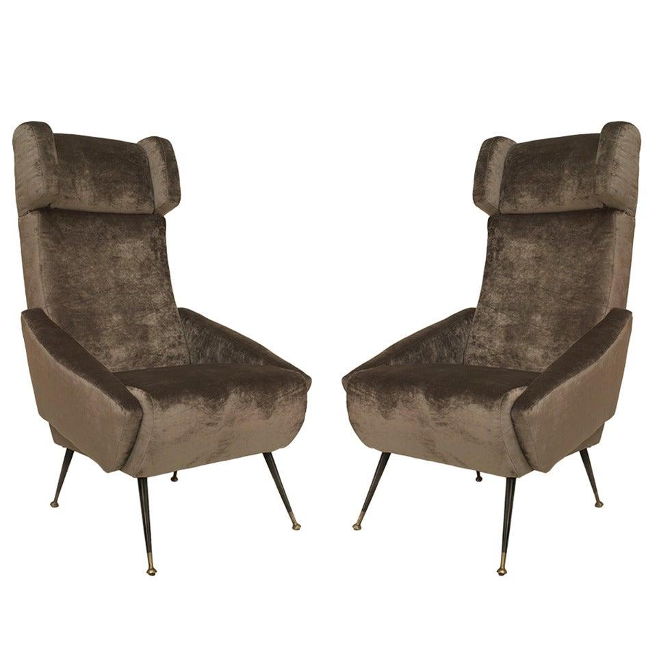 Pair of Italian Grey Velvet Wing Armchairs