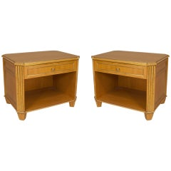 Pair of Hollywood Regency Gilt Trimmed Sycamore Nightstands