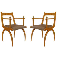 Pair of 1940's French Sycamore Open Armchairs
