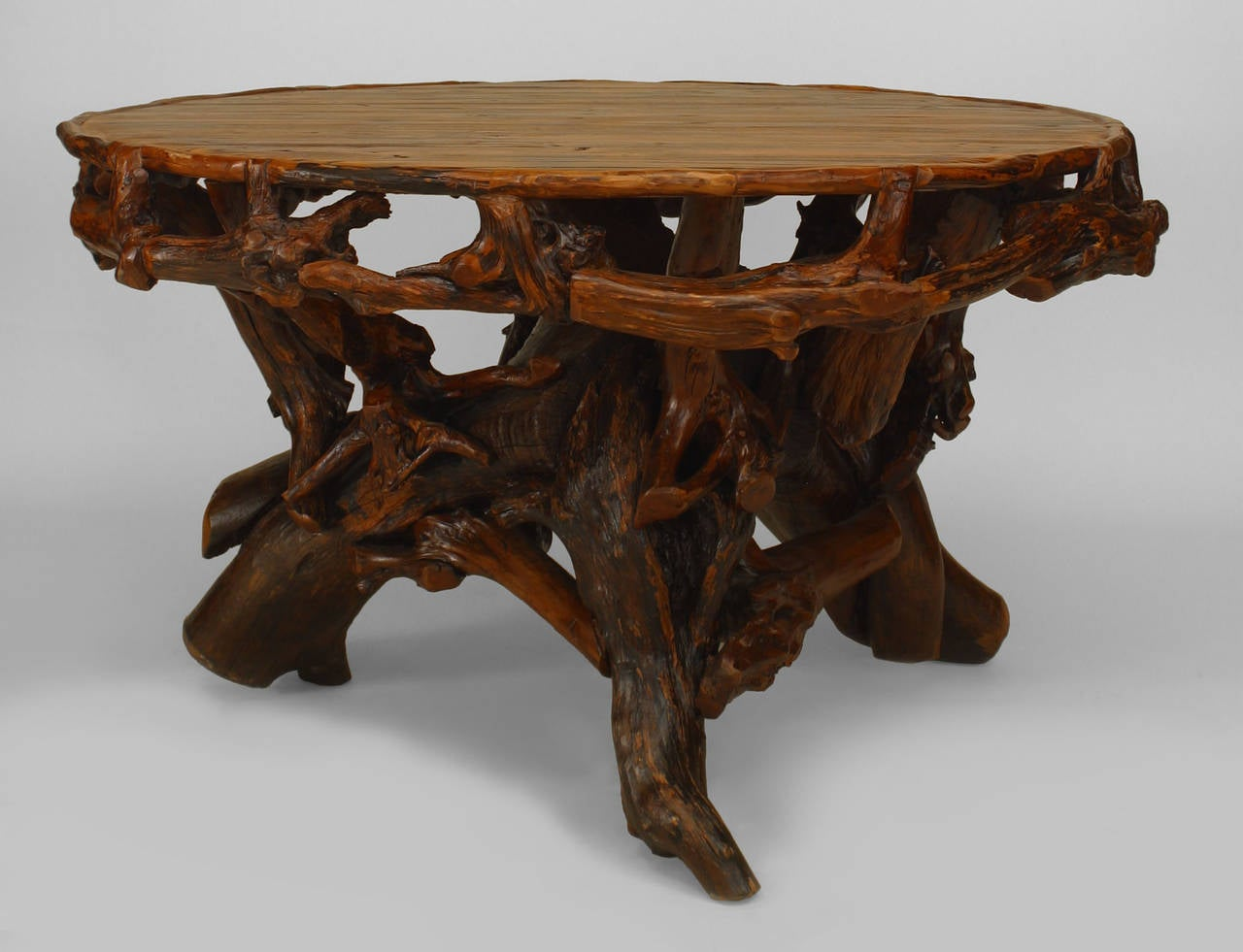 20th c american adirondack style round root base dining for Xpages table th