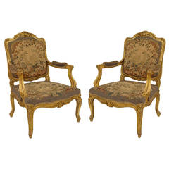 Pair of 19th Century Louis XV Style, Gilt Carved Tapestry-Upholstered Armchairs