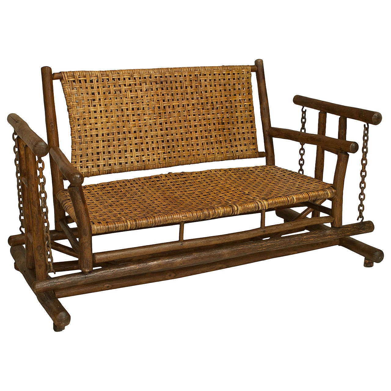 American Old Hickory Porch Glider Loveseat For Sale