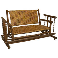American Old Hickory Porch Glider Loveseat