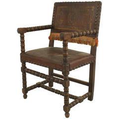 Late 18th Century Italian Renaissance Walnut and Leather Armchair