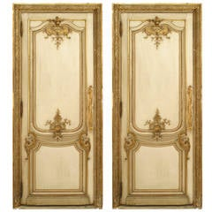 Pair of 19th Century French Louis XV Style White and Gold Painted Doors