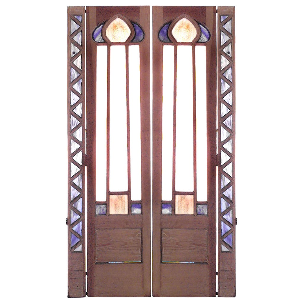 Pair of English Arts and Crafts Beveled Glass Stripped Pine Doors