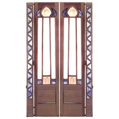Pair of English Arts and Crafts Beveled Glass Doors