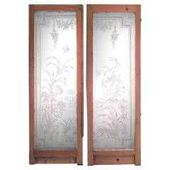 Pair of French Louis XVI Style Etched Glass and Stripped Pine Doors