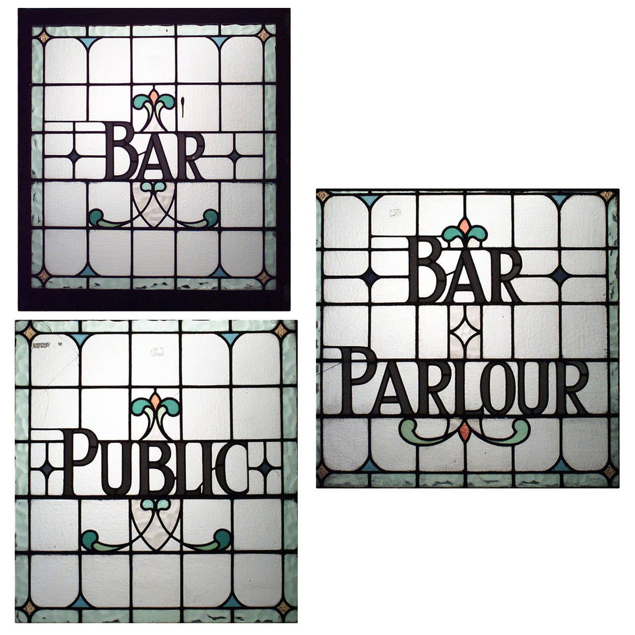 Three English, Victorian Leaded Glass Pub Signs For Sale