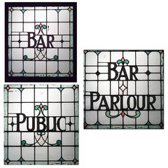 Three English, Victorian Leaded Glass Pub Signs