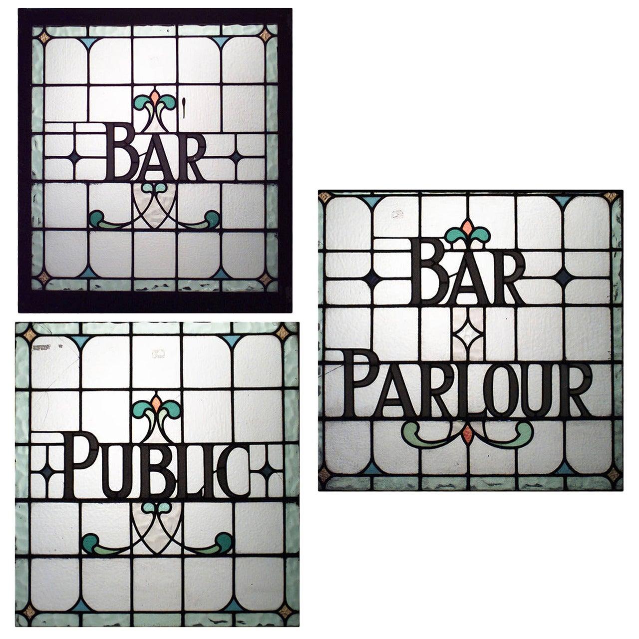 Three English, Victorian Leaded Glass Pub Signs