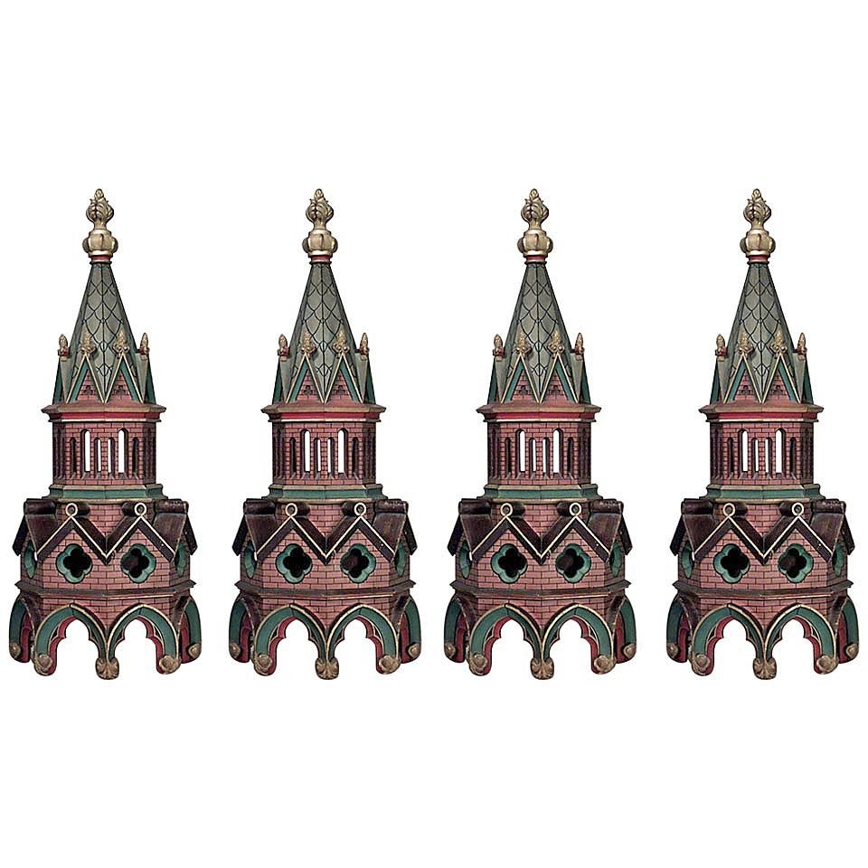Set of Four 19th Century English Gothic Revival Architectural Steeples For Sale
