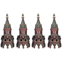 4 English Gothic Revival Style Painted Steeples