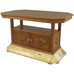 Dutch Arts & Crafts Oak and Brass Center Table