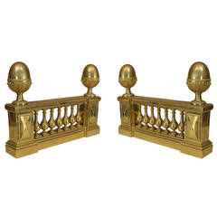 Pair of Adam Style Architectural Andirons