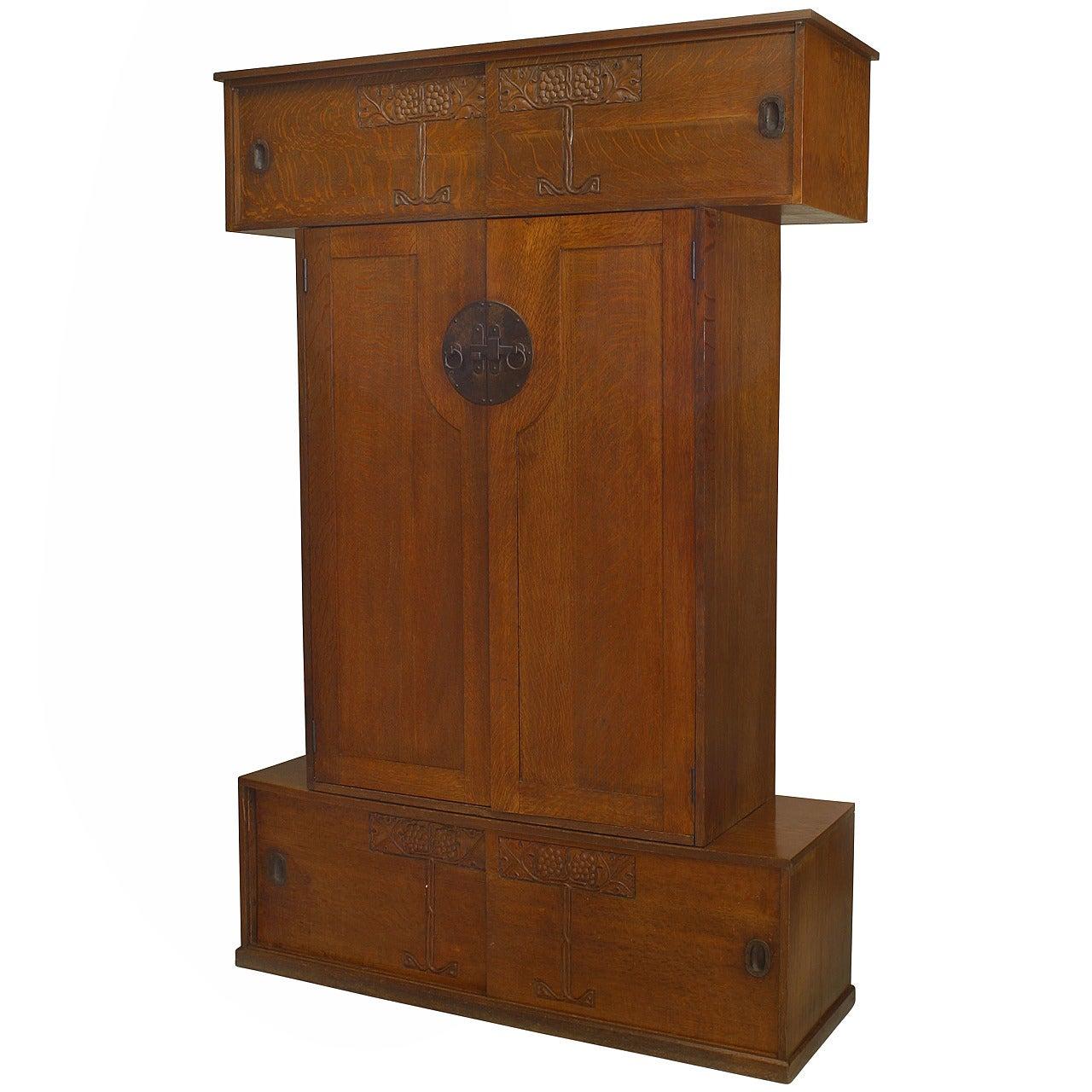 English Arts & Crafts Oak Armoire Cabinet