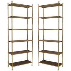 Two modern american brass trimmed mahogany etageres by carole gratale - Etagere cases carrees ...