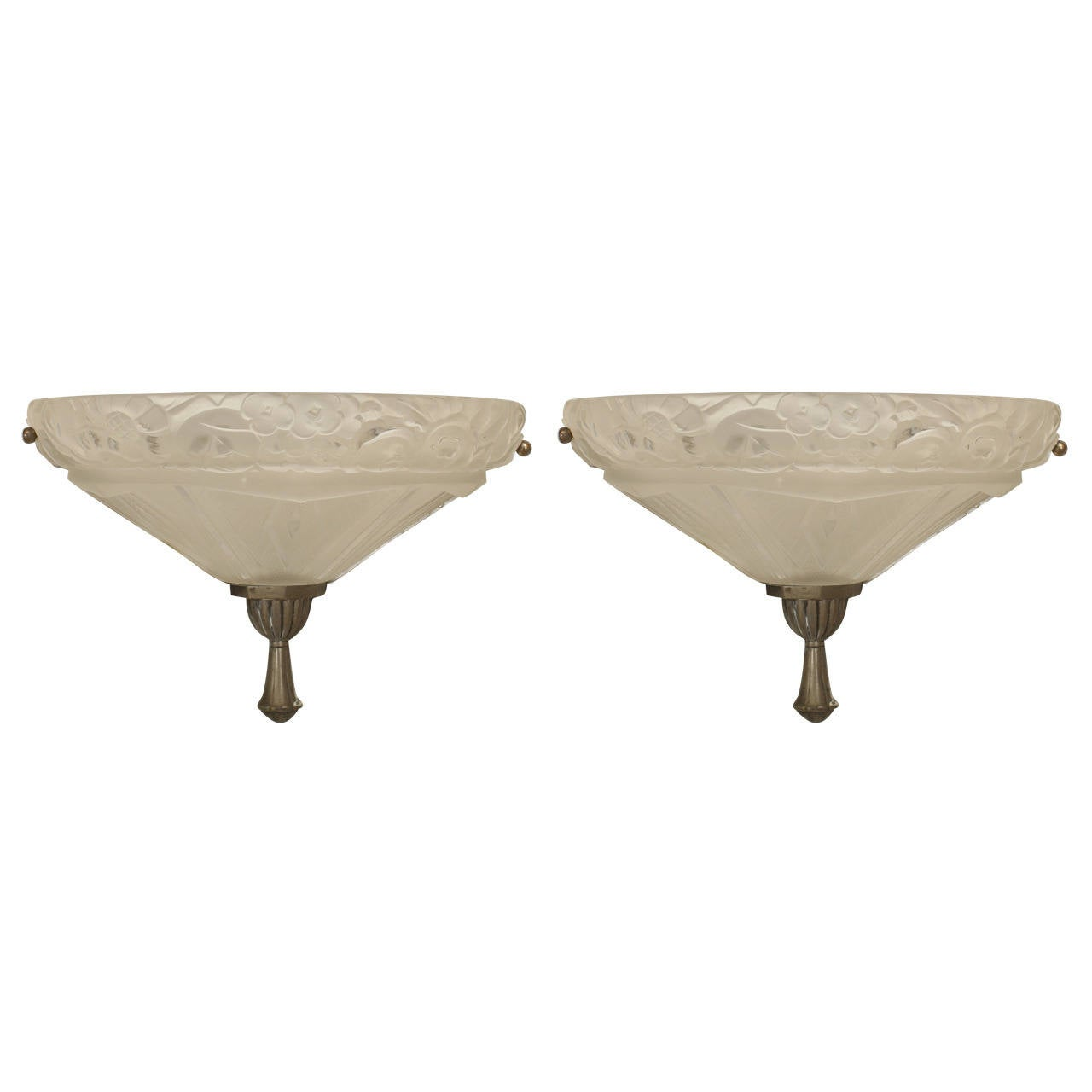 Pair of French Art Deco Molded Frosted Glass Sconces Attributed to Sabino