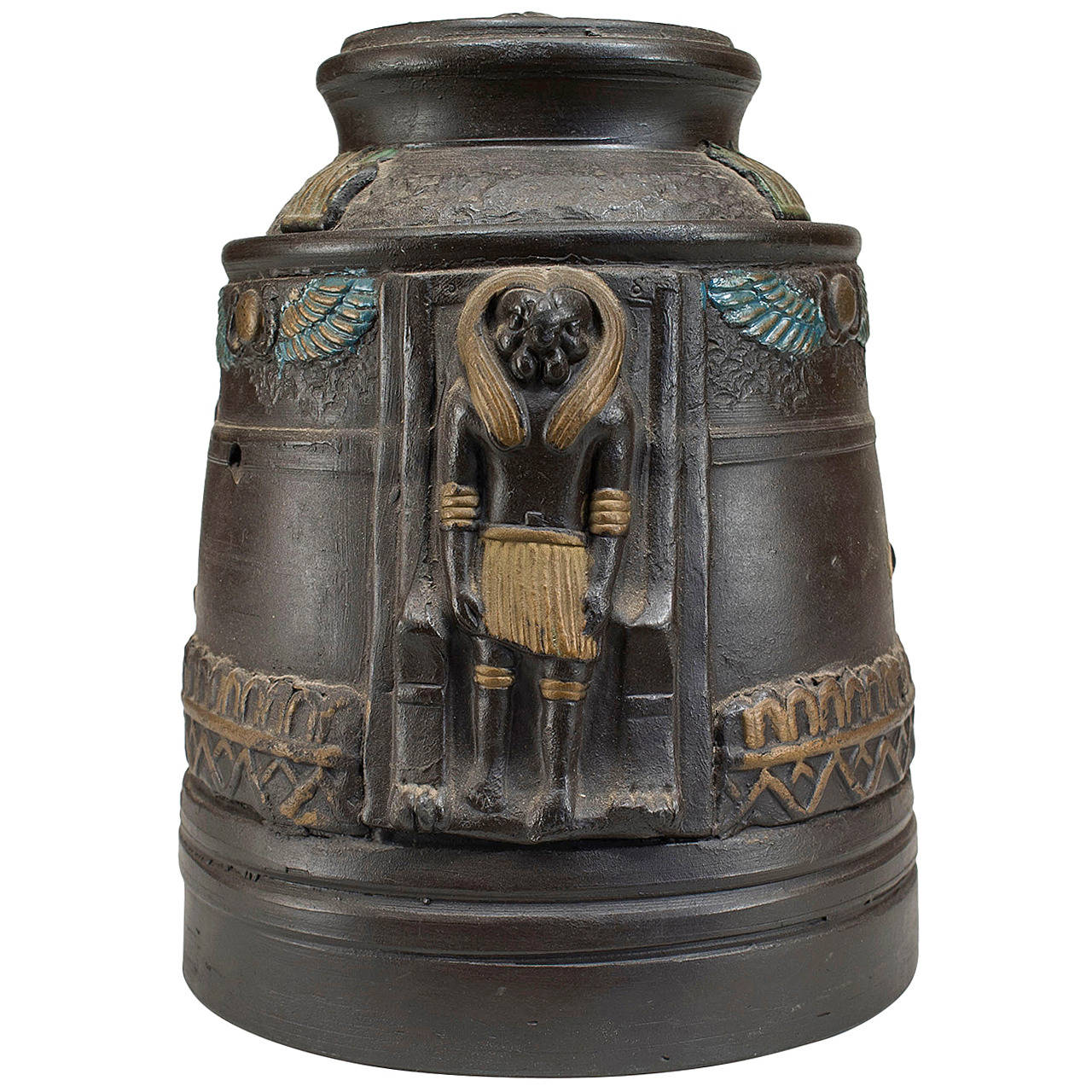 1920s Japanese Egyptian Revival Tobacco Jar