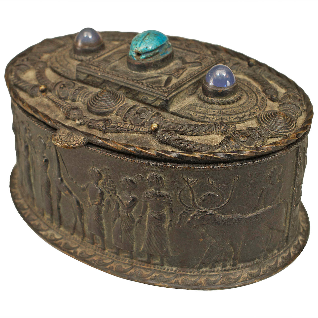Egyptian Revival Inlaid Bronze Oval Box, circa Late 19th Century For Sale