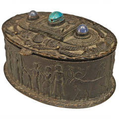 Egyptian Revival Inlaid Bronze Oval Box, circa Late 19th Century