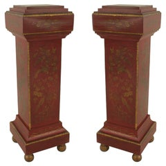 Pair of English Regency Style Chinoiserie Pedestals