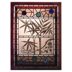 19th Century English Stained and Leaded Glass Window with Bamboo Design