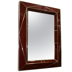 Modern American Bordeaux Glass Wall Mirror - 1stdibs New York