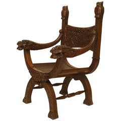 19th Century Asian Mahogany Armchair with Bestial Carvings