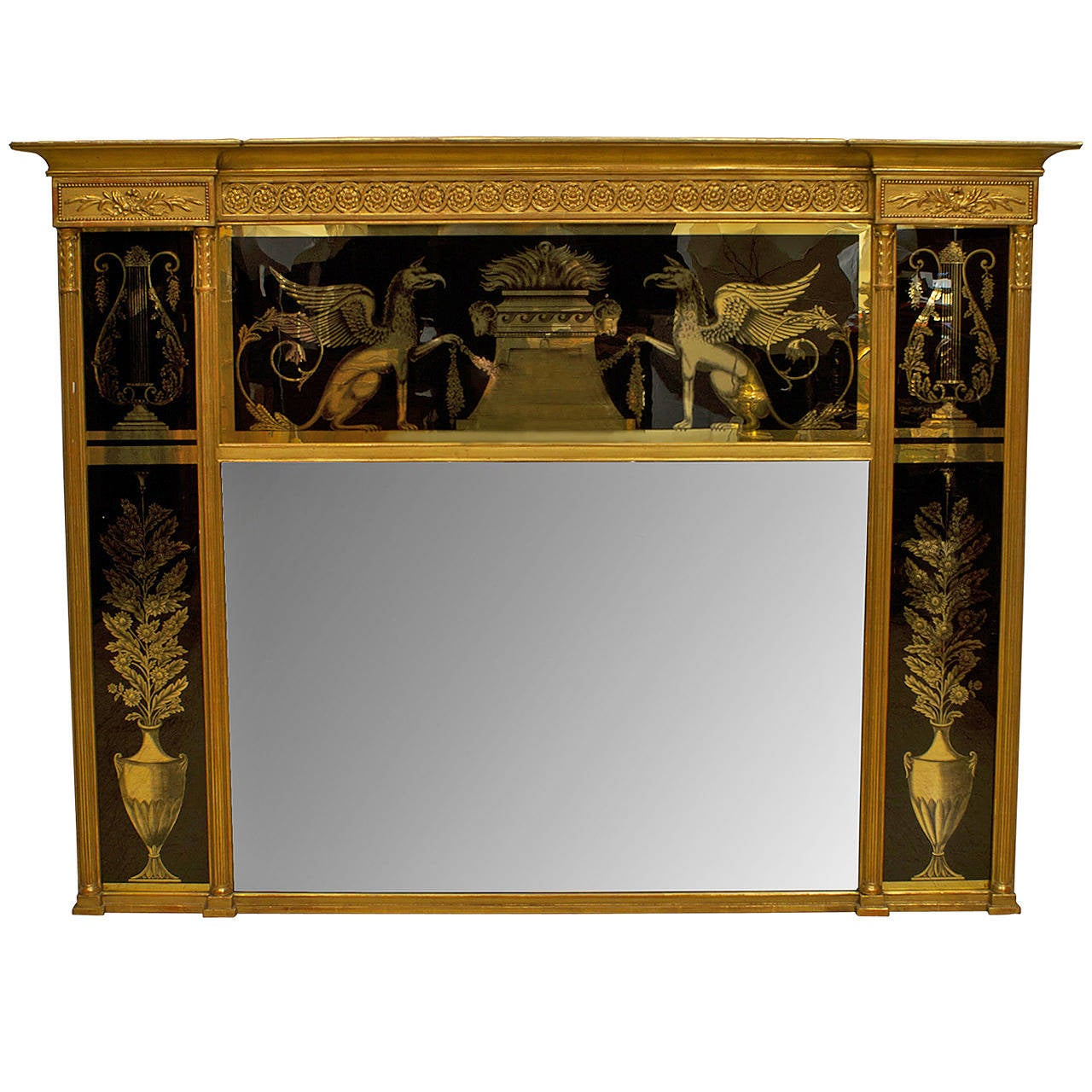 19th Century Italian Neo-classical Wall Mirror Framed in Reverse Painted Glass For Sale