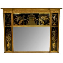 19th Century Italian Neo-classical Wall Mirror Framed in Reverse Painted Glass