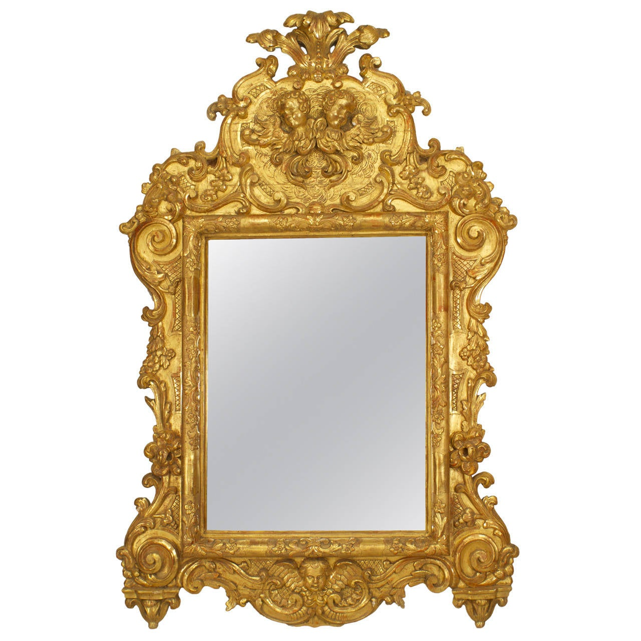 Large 18th century italian rococo carved giltwood mirror for Big mirrors for sale
