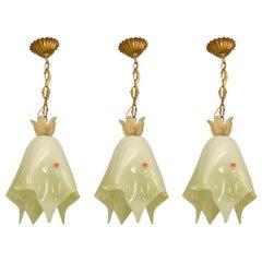 Set of Three 1950s Italian Murano Glass Handkerchief Chandeliers by Seguso