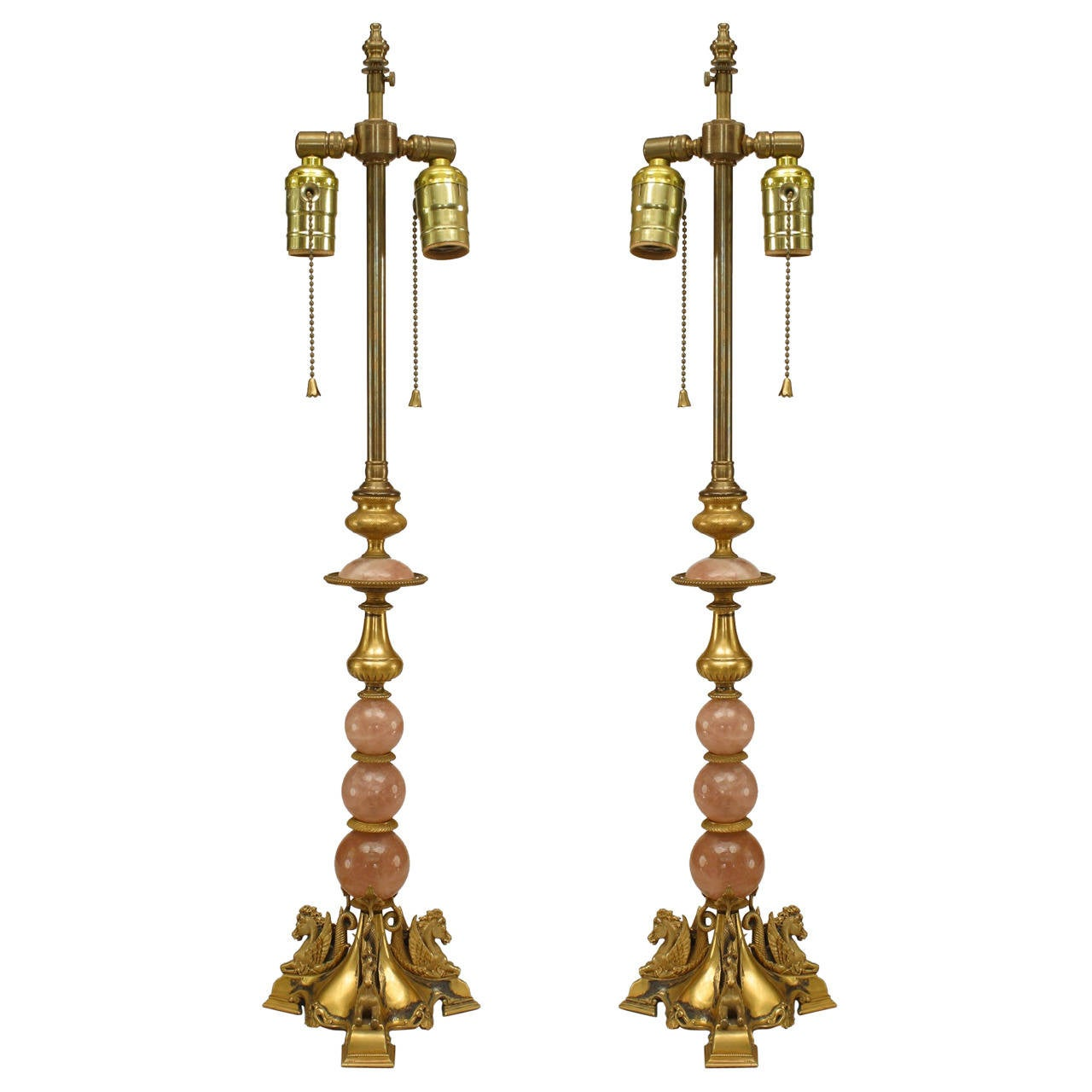 Pair of French Rose Quartz and Ormolu Table Lamps